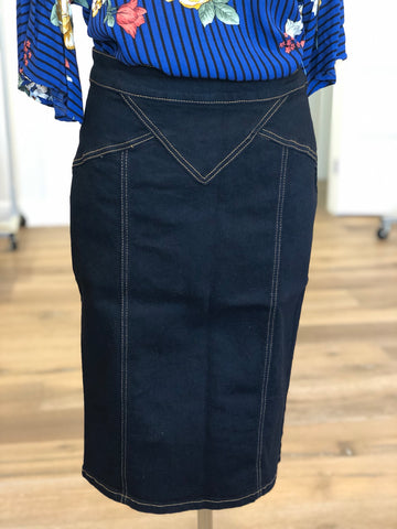 "Denim Skirt in Black - 26"" long {XS-XL}"
