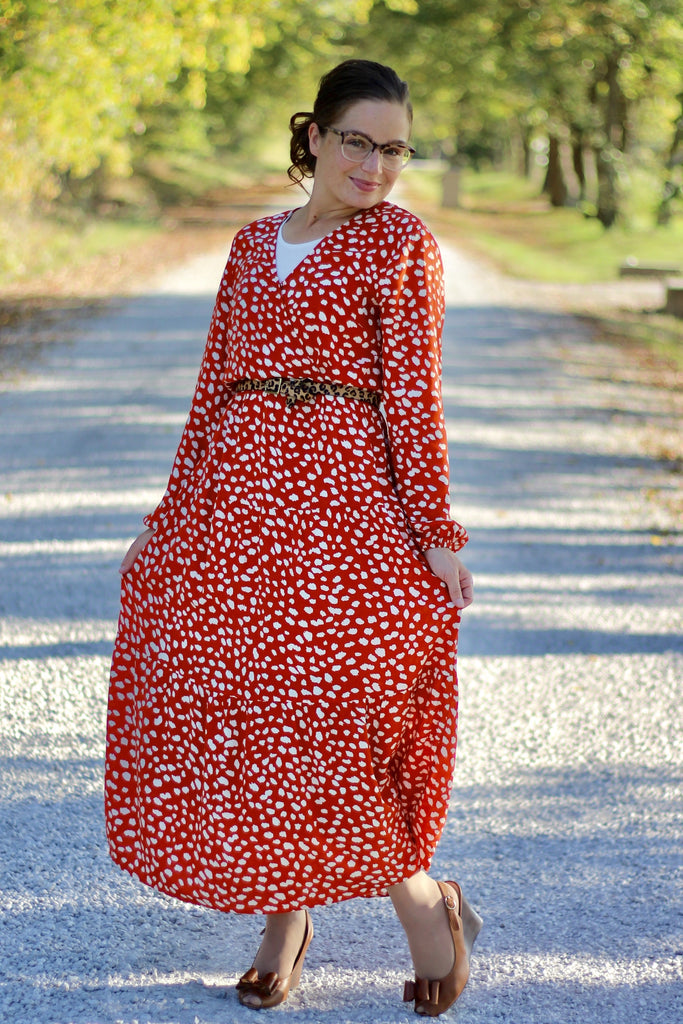 Spotted Dress in Rust (S-XL)