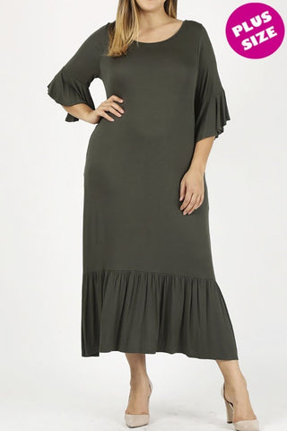 Ruffle Trim Plus Dress in Olive {XL-3X}