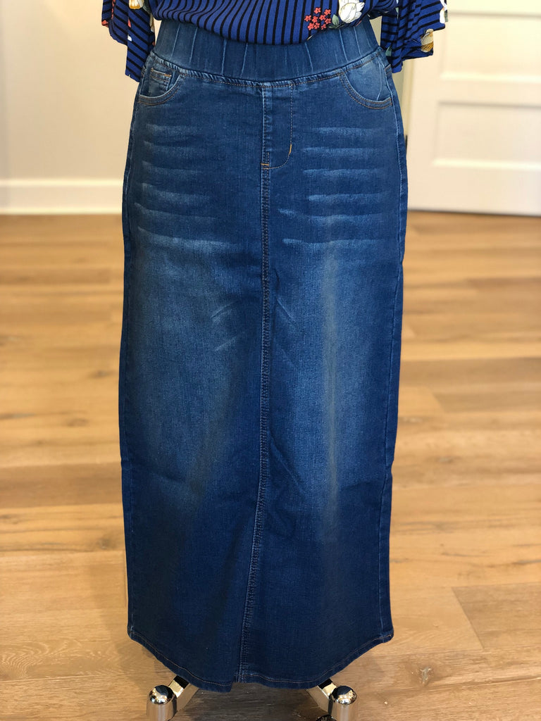 "Denim Skirt in Vintage Wash {elastic waist} - 38"" long {XS-3X}"