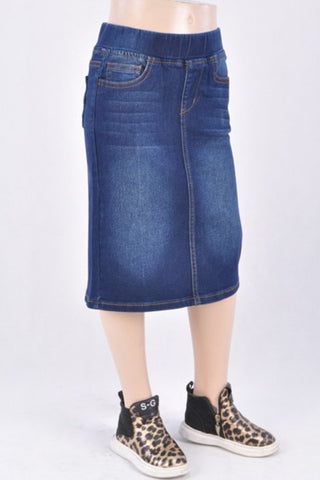 Girls Denim Skirt - Dark Wash
