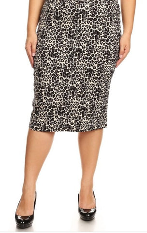Colored Denim Skirt - Leopard (XS-3X)