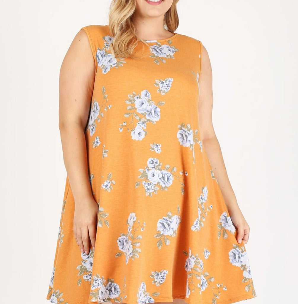 Orange Floral Sleeveless Tunic {XL-3X}