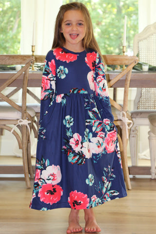 Girls Floral Maxi Dress in Navy