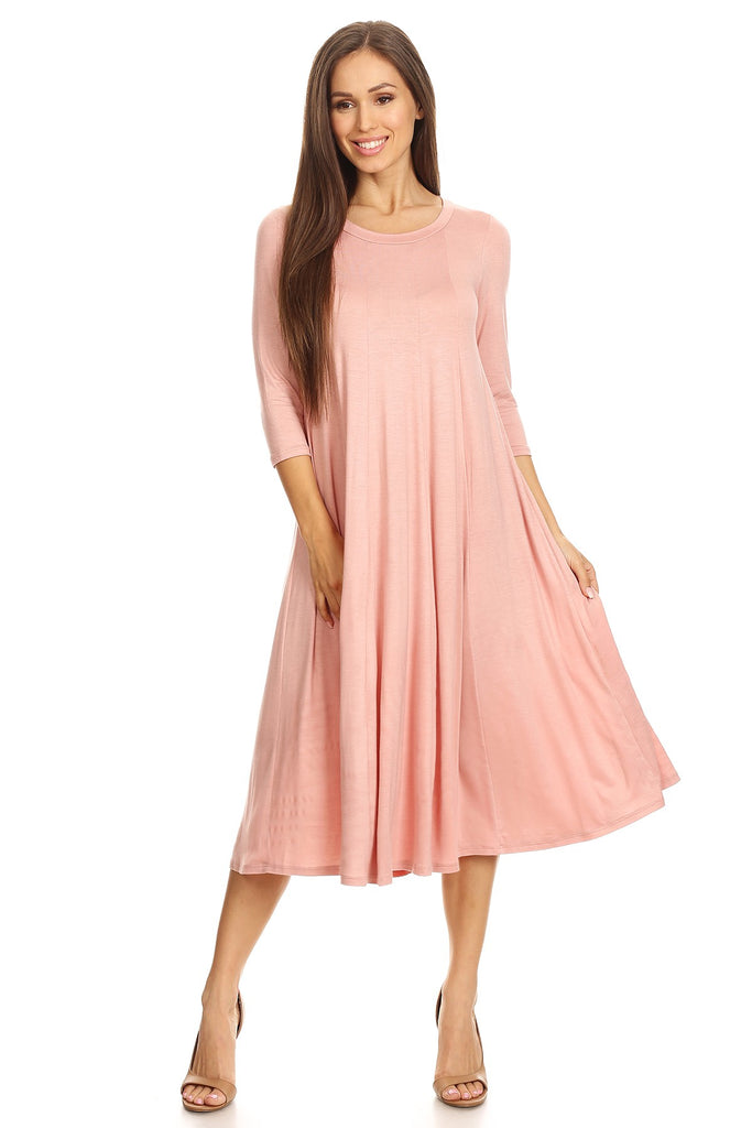 Midi Swing Dress in Dusty Rose (S-L)