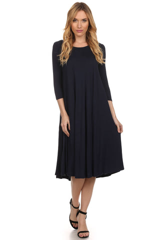 Midi Swing Dress in Navy  (S-L)