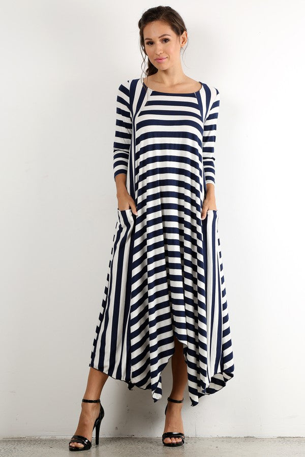 Julia Stripe Dress in Navy {S-3X}