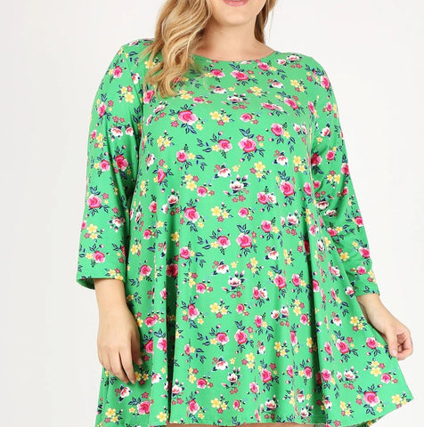 Green Floral Tunic (3X-5X)