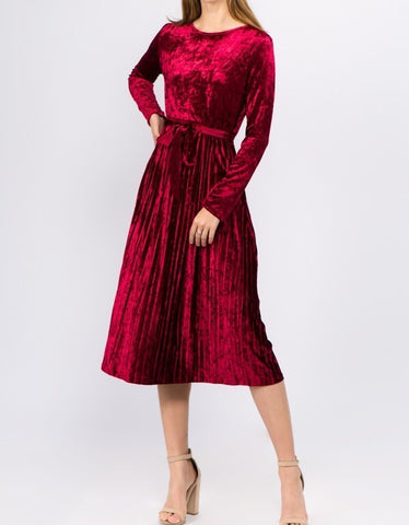Velvet Pleat Dress in Wine (S-L)