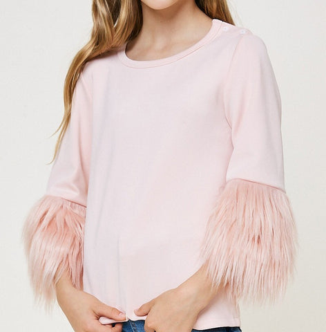 Girls Fur Sleeve Top