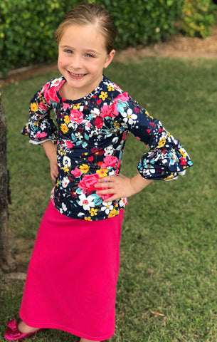 Girls Ruffle Sleeve Layering Top in Navy Floral (6-12m thru 14/16y)