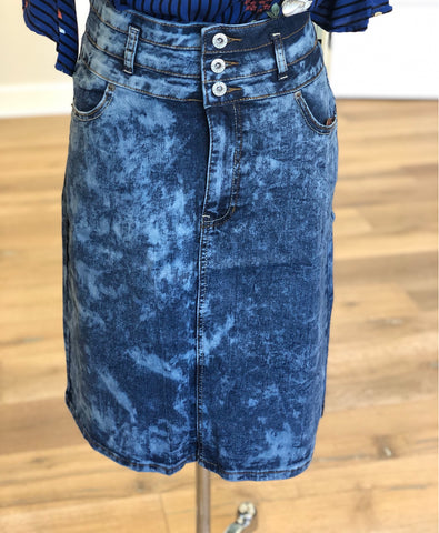 "Denim Skirt in Blue Acid - 26"" long {XL-3X}"