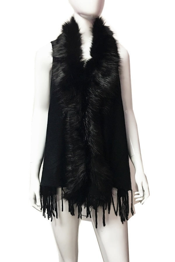 Faux Fur Collar Vest in Black