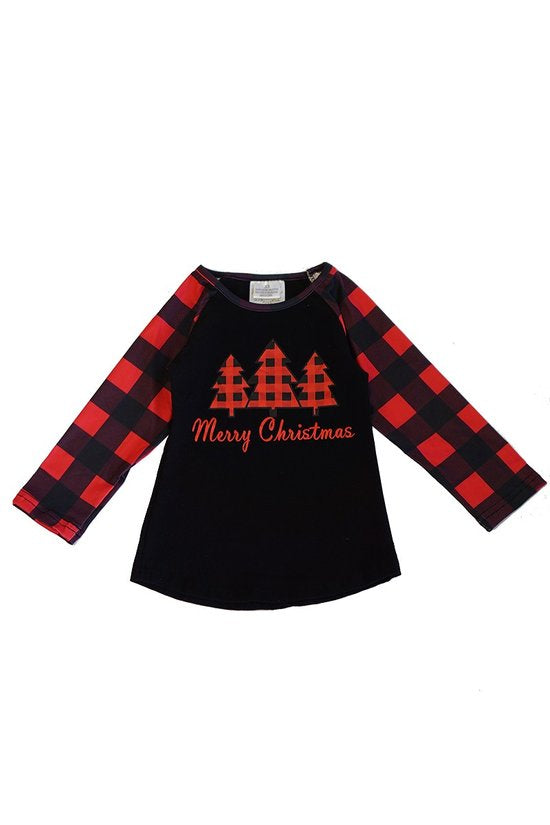 Girls Christmas Raglan Top (3T-7Y)
