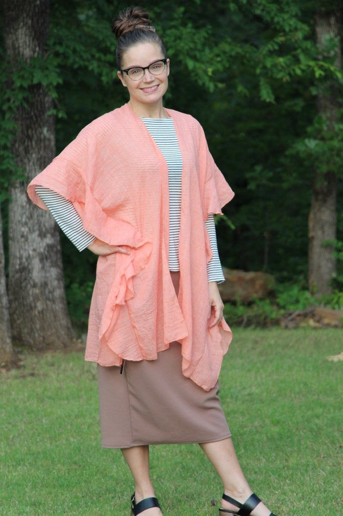 Ruffled Open Front Kimono in Peach (One Size)