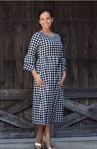 Navy Gingham Ruffle Sleeve Dress