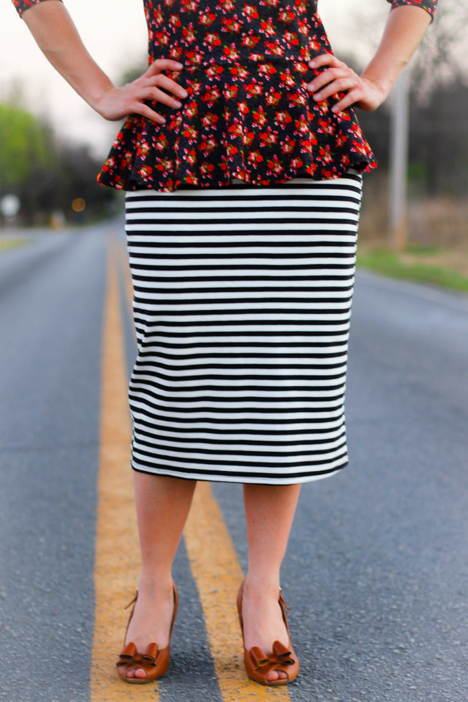 Essential Black & White Stripe Skirt