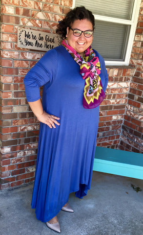 Drape Dress in Denim Blue {XL-3X}