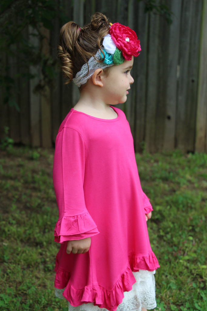 Girls Pink Ruffle Tunic