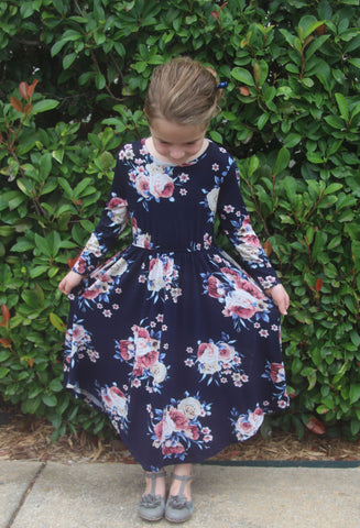 Floral Midi Dress for GIRLS in Navy