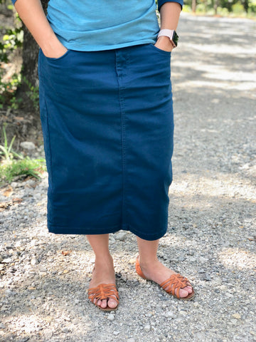 Colored Denim Skirt - Teal (XS-3X)