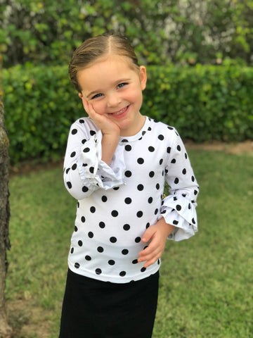 Girls Ruffle Sleeve Layering Top in Polka Dot (6-12m thru 14/16y)