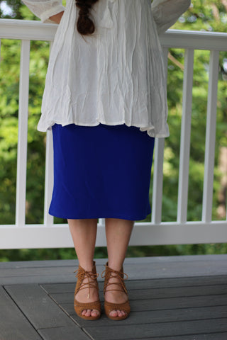 "Essential Skirt in Royal Blue - 26"" (S-L)"