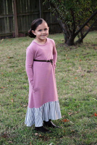Camilla Dress for GIRLS {black & dusty pink}