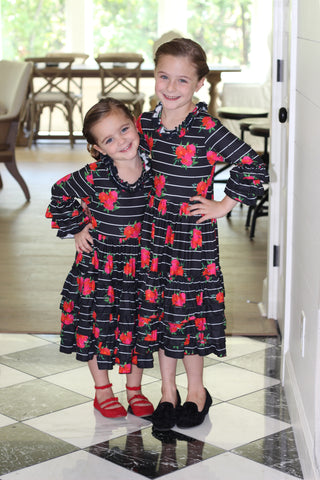 Girls Ruffle Dress in Black Floral (6-12m thru 14/16y)