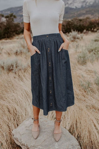 Brittany Denim Skirt (S-XL)