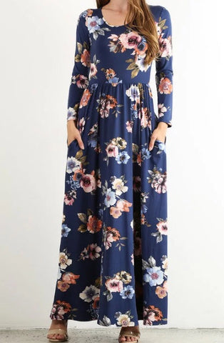 Floral Maxi with Pockets in Navy