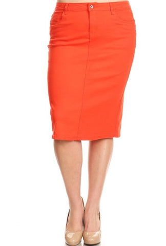 Colored Denim Skirt - Orange (XS-3XL)