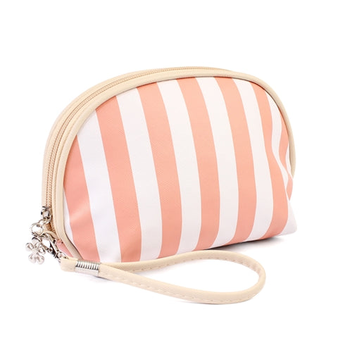 Striped Cosmetic Bag in Peach
