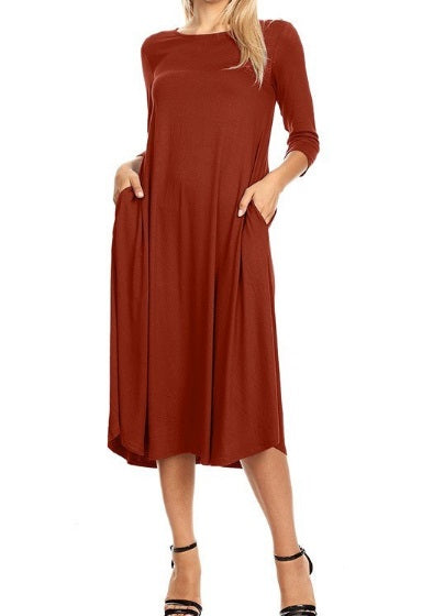 Roxanne Essential Dress - Brick (S-XL)