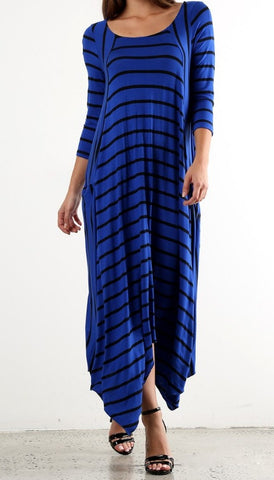 Julia Stripe Dress in Royal Blue {S-XL}