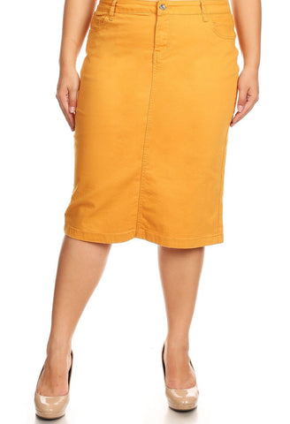 Colored Denim Skirt - Mustard (XS-3XL)