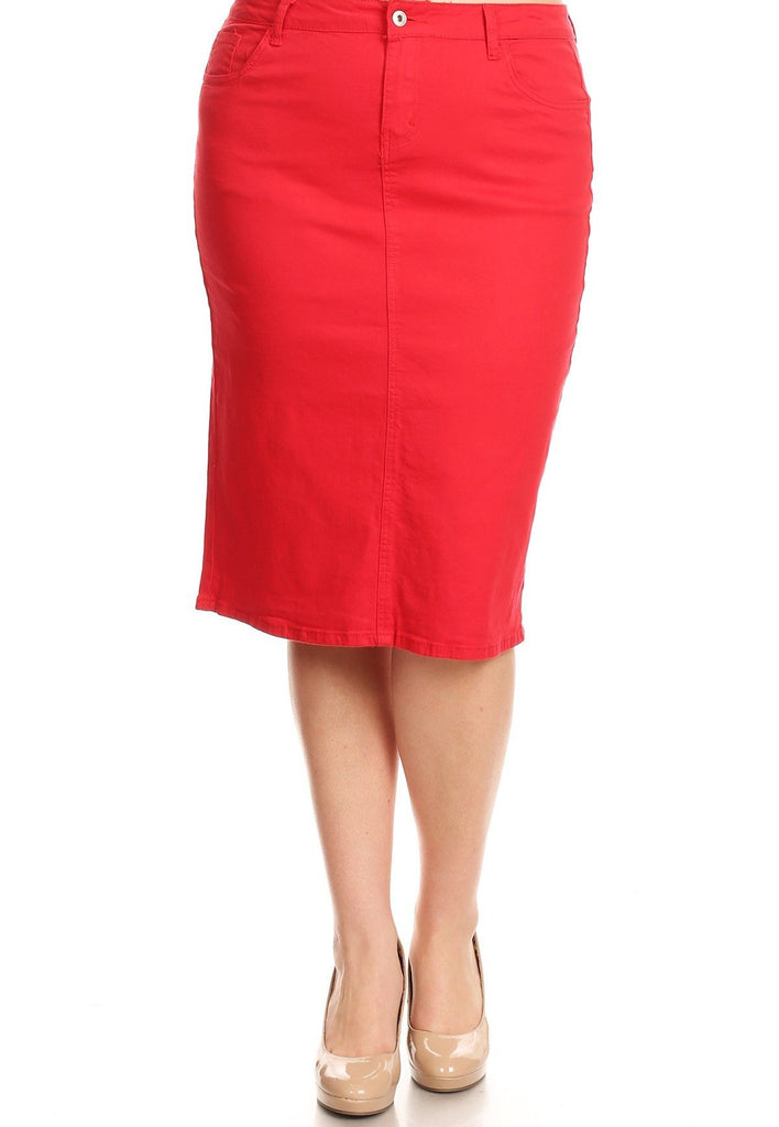389772f583a31 Colored Denim Skirt - Red (XS-3XL) – The Modest Poppy