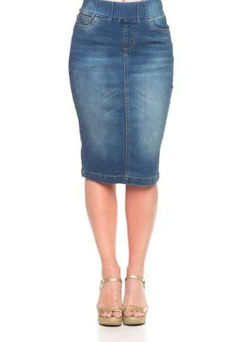 "Denim Skirt ~ Vintage Wash - 26"" (S-3XL)"