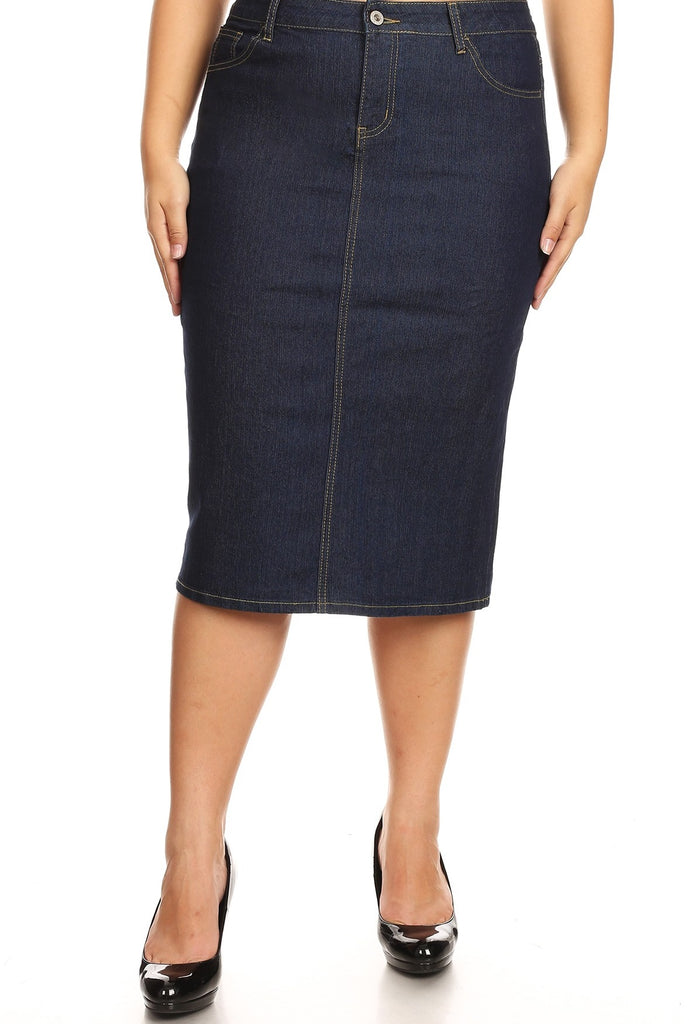 "Denim Skirt ~ Dark Indigo- 28"" long {XS-3X}"