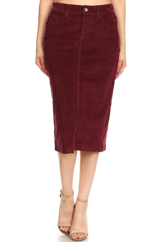 "Colored Corduroy Skirt (28"") - Burgundy (XS-XL)"