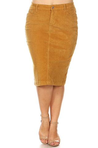 "Colored Corduroy Skirt (28"") - Camel (XS-3X)"