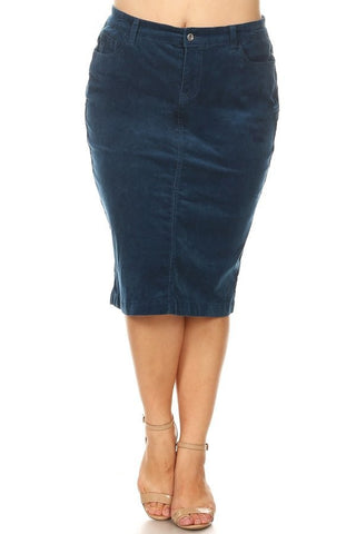 "Colored Corduroy Skirt (28"") - Midnight Blue (XS-3X)"