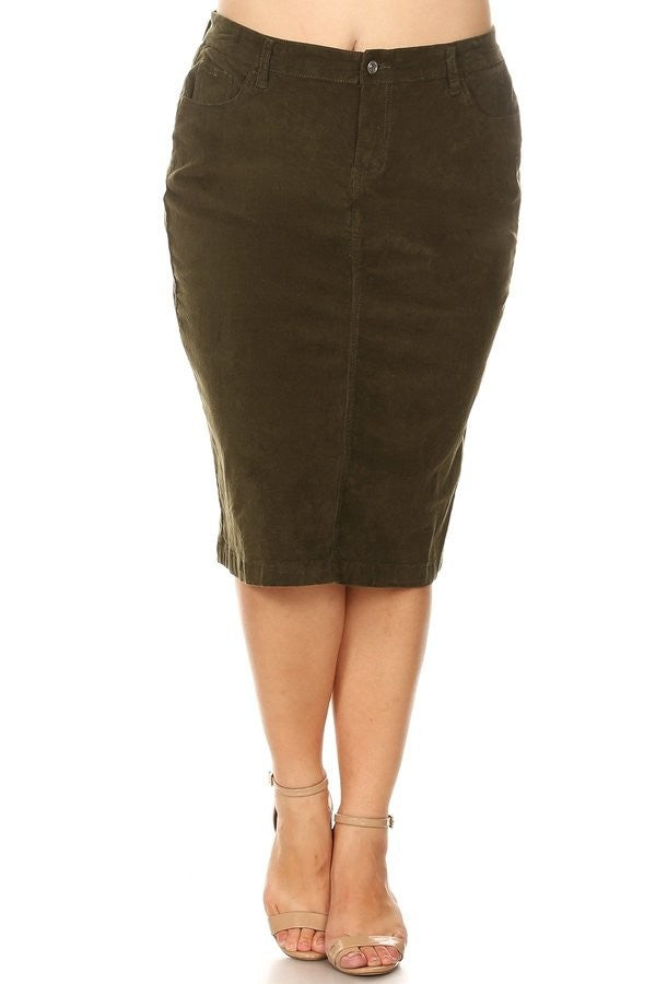 "Colored Corduroy Skirt (28"") - Olive (XS-3X)"
