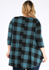 Checker Print Top in Teal & Black (XL-3X)