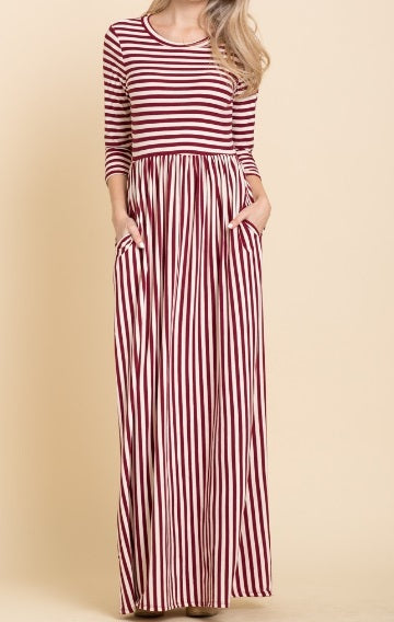 Stripe Maxi Dress - Wine (S-XL)