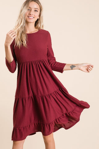 Swiss Dot Midi Dress in Wine (S-XL)