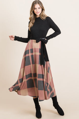 Plaid Maxi Dress (S-XL)
