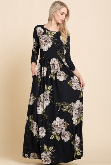 Winter Floral Maxi Dress {S-XL}