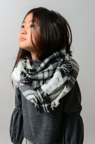 Kid's White/Black Infiniti Scarf