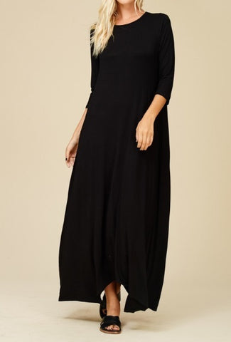 Alexa Maxi Dress in Black (S-3X)